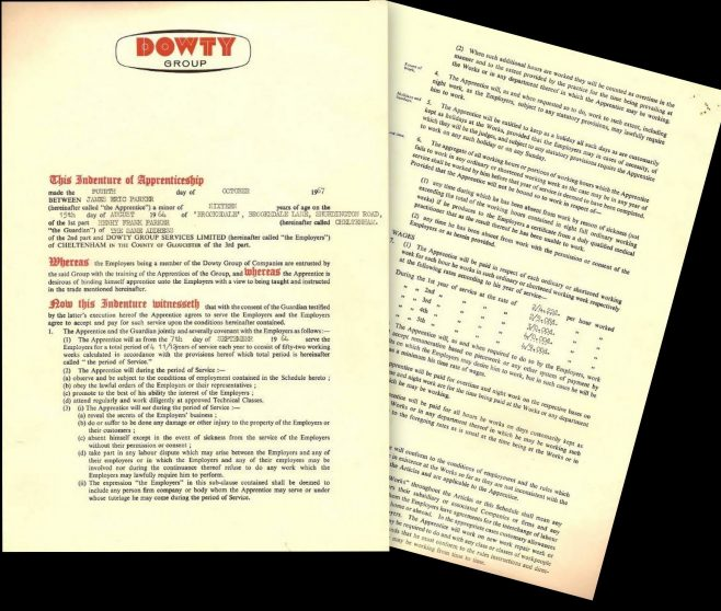 James Parker 1964 - Apprentice Indenture Agreement | James Parker