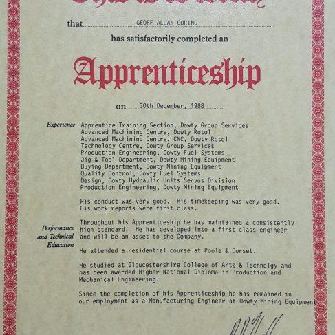 Geoff Goring 1988 - Apprentice Completion Certificate | Geoff Goring
