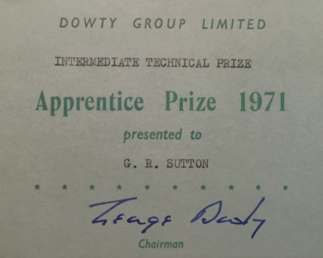 Apprentice Prize Giving Notification 1971 | Gary Sutton