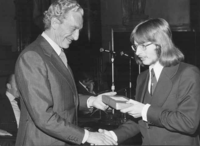 Gary Sutton receiving his Prize from Raymond Baxter at Cheltenham Town Hall 12th November 1974 | Gary Sutton