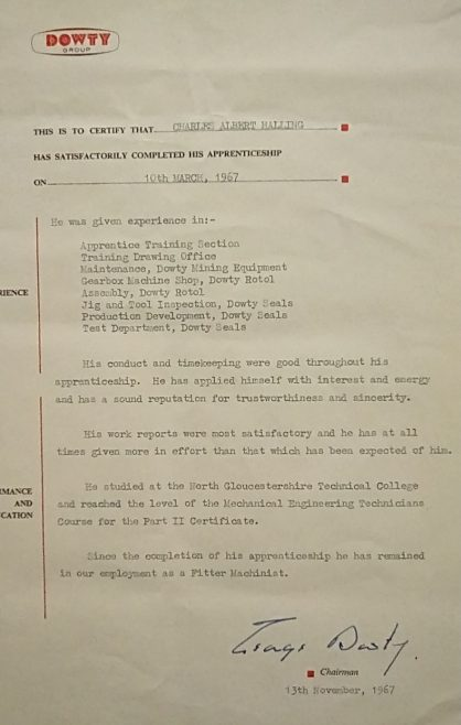 Charles Halling 1967 - Apprentice Completion Certificate | Charles Halling