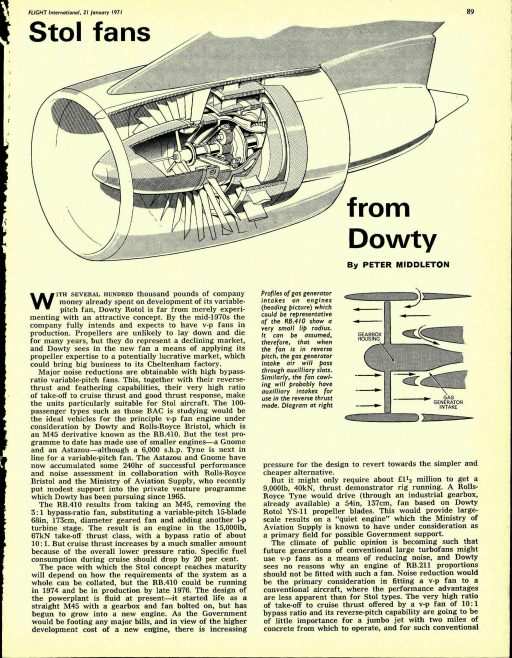 Dowty Stol Fans - Flight International January 1971 | Flight International
