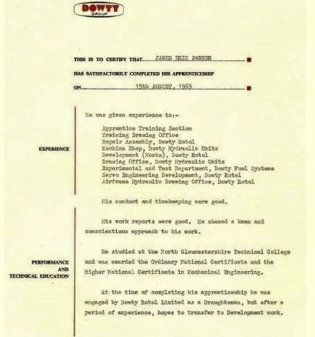 James Parker 1969 - Apprentice Completion Certificate  | James Parker