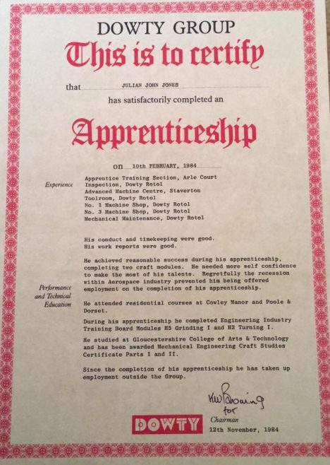 Julian Jones 1984 - Apprentice Completion Certificate | Julian Jones