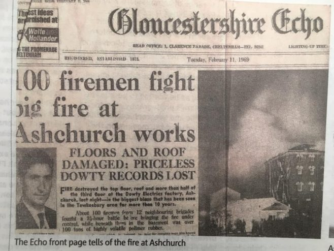 Dowty Electric Fire at Ashchurch factory in 1969 | J W Redfern