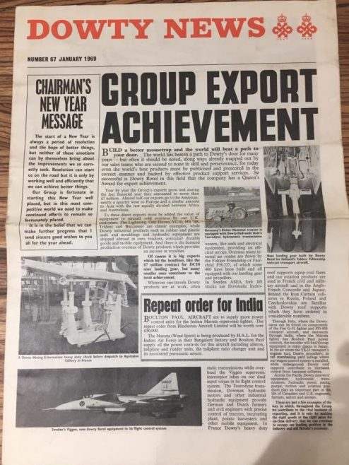 Dowty News January 1969 - a periodic company newspaper that informed employees on the business and social events | Andrew Thomas