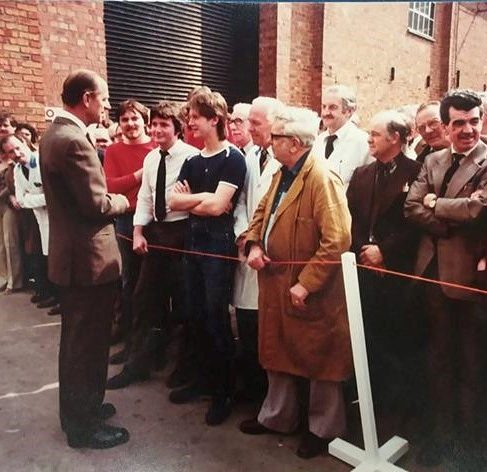VIP Visit of Duke of Edinburgh in 1978 for Queens Award for industry (by the side of raw material stores by canteen) | Chris Powderhill
