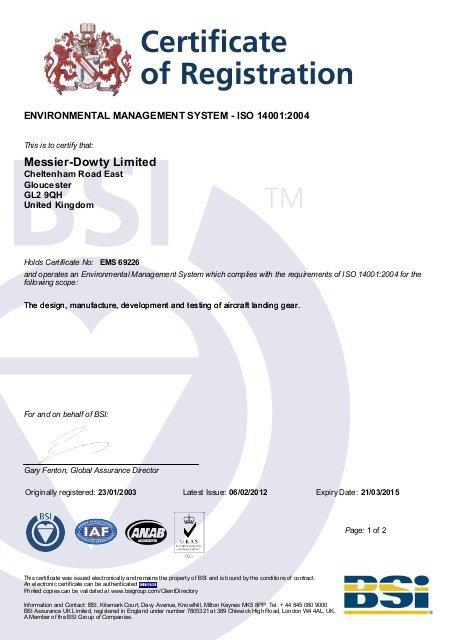 BSI Certifcate