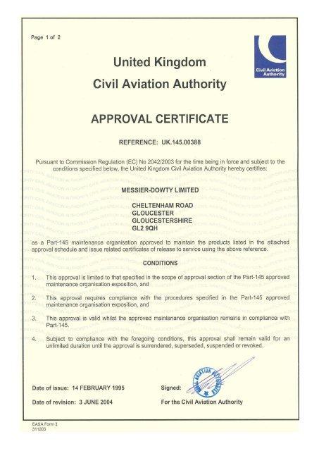 CAA Part-145 Certificate