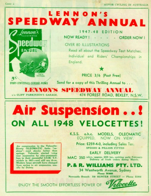 Air Suspension on all Velocette Motorcylces | J W Redfern