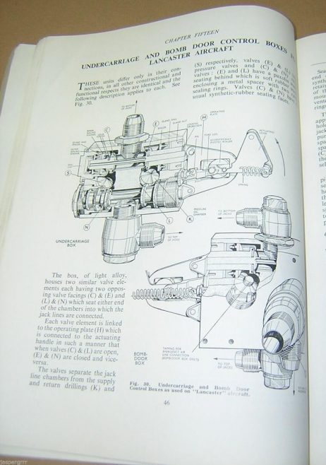 Dowty Equipment Ltd - Instruction manual on Aircraft Hydraulics; including the Lancaster Bomber undercarriage and bomb door, flap control unit and Emergency Air Shuttle Valve.