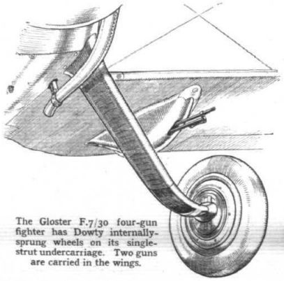 Gloster F.7/30 Fighter Aircraft with Dowty internally sprung wheels