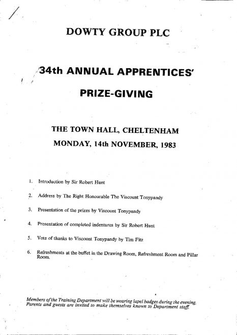 Dowty Group Annual Apprentices Prizegiving - Nov 1983 | Original photo in the Dowty archive at the Gloucestershire Heritage Hub