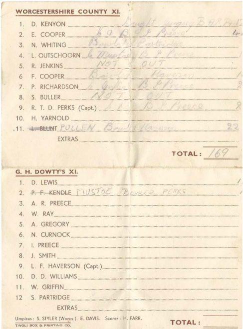 G H Dowty's XI. v Worcestershire County XI - July 1950 | Carol John Sharrock
