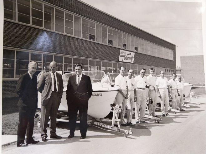 Robert Hunt and the Dowty Turbocraft in Canada with some of the employees. | Original photo in the Dowty archive at the Gloucestershire Heritage Hub