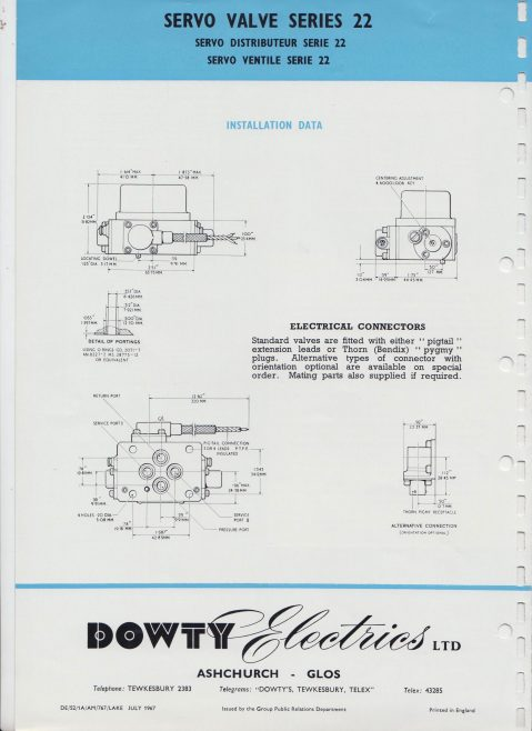 Dowty Electrics - Servo Control Valves Series 22 Data Sheet 1543 | Original photo in the Dowty archive at the Gloucestershire Heritage Hub