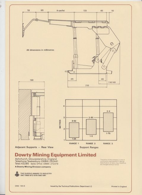 Dowty Mining Equipment - 4 Leg 360 Tonne Chock Shield Support | Original photo in the Dowty archive at the Gloucestershire Heritage Hub