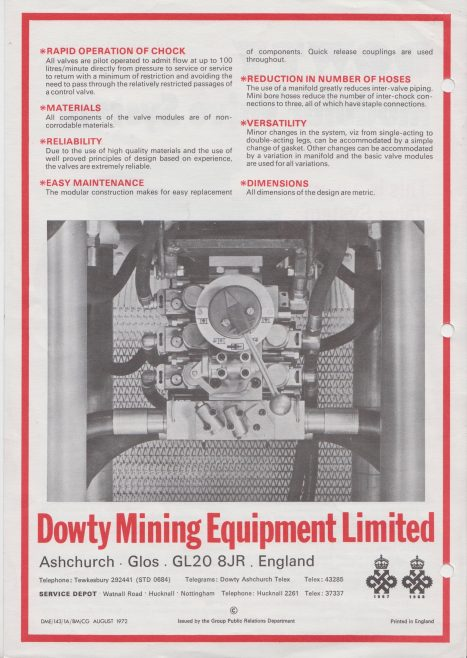 Dowty Mining Equipment - Modular Valve System | Original photo in the Dowty archive at the Gloucestershire Heritage Hub