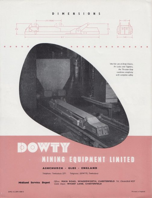 Dowty Mining Equipment - Hydraulic Thruster-Stop | Original photo in the Dowty archive at the Gloucestershire Heritage Hub