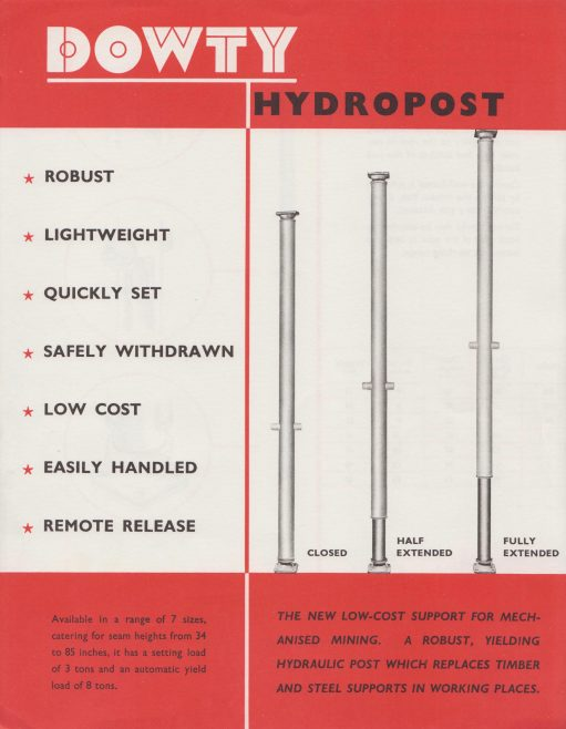 Dowty Mining Equipment - Hydropost | Original photo in the Dowty archive at the Gloucestershire Heritage Hub