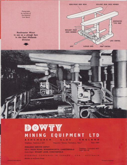 Dowty Mining Equipment - Roofmaster Minor Power Support System | Original photo in the Dowty archive at the Gloucestershire Heritage Hub