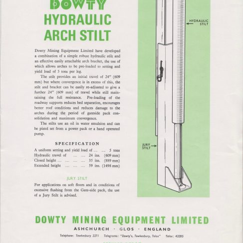 Dowty Mining Equipment - Hydraulic Arch Stilt | Original photo in the Dowty archive at the Gloucestershire Heritage Hub