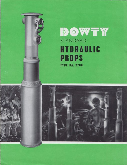 Dowty Mining Equipment - Standard Hydraulic Props Type PA.2700 | Original photo in the Dowty archive at the Gloucestershire Heritage Hub