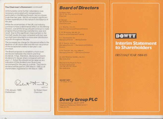 Dowty Group - Shareholder Interim Statement 1984-85 | Original photo in the Dowty archive at the Gloucestershire Heritage Hub