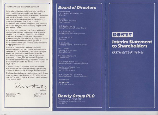 Dowty Group - Shareholder Interim Statement 1985-86 | Original photo in the Dowty archive at the Gloucestershire Heritage Hub