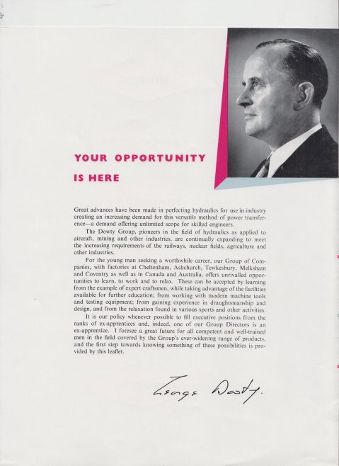 Dowty Group - Apprentice Recruitment Brochure | Original photo in the Dowty archive at the Gloucestershire Heritage Hub