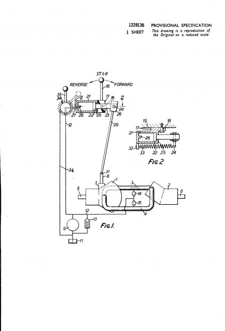 Dowty Hydraulic Units Patent - Control for a Variable Ratio Hydrostatic Transmission | Original photo in the Dowty archive at the Gloucestershire Heritage Hub