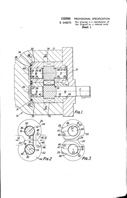 Dowty Hydraulic Units Patent - Gearing and Lubrication Means Therefor | Original photo in the Dowty archive at the Gloucestershire Heritage Hub