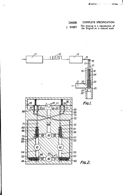 Dowty Technical Developments Patent - Flow-Rate Control Valves | Original photo in the Dowty archive at the Gloucestershire Heritage Hub