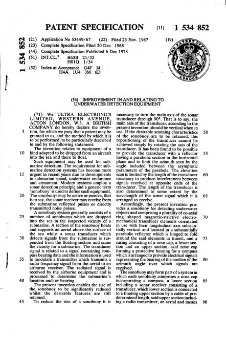 Ultra Electronics Patent Specification 1967 - Improvement in and Relating to Underwater Detection Equipment | Original photo in the Dowty archive at the Gloucestershire Heritage Hub