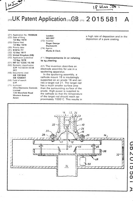 Ultra Electronic Controls Patent Specification 1977 - Improvements in or Relating to Sputtering | Original photo in the Dowty archive at the Gloucestershire Heritage Hub