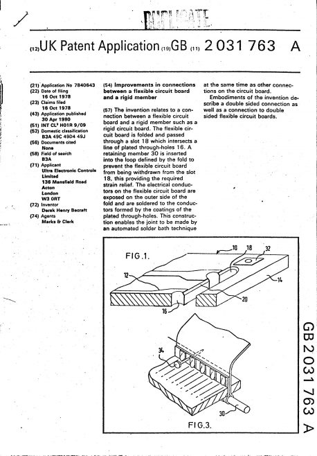 Ultra Electronic Controls Patent Specification 1978 - Improvements in connections between a flexible circuit board and a rigid member | Original photo in the Dowty archive at the Gloucestershire Heritage Hub