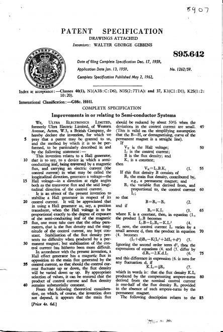 Ultra Electronics Patent Specification 1959 - Improvements in and Relating to Semi-Conductor Systems | Original photo in the Dowty archive at the Gloucestershire Heritage Hub