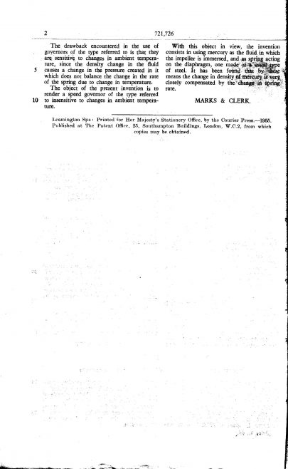 Ultra Electric Patent Specification 1954 - Improvements in and Relating to Speed Governors | Original photo in the Dowty archive at the Gloucestershire Heritage Hub