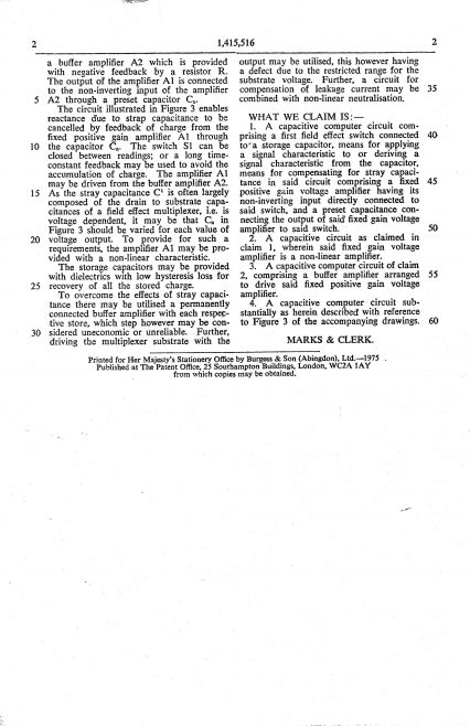 Ultra Electronics Patent Specification 1972 - Improvements in Capacitive Circuits   Original photo in the Dowty archive at the Gloucestershire Heritage Hub