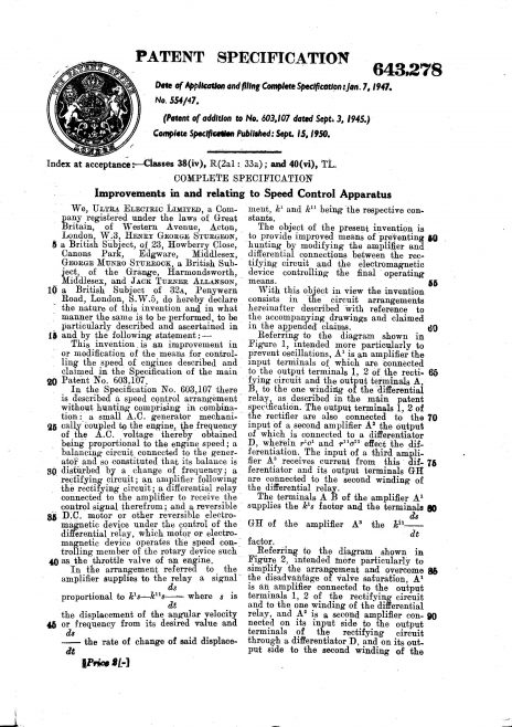 Ultra Electric Patent Specification 1947 - Improvements in and Relating to Speed Control Apparatus (643.278) | Original photo in the Dowty archive at the Gloucestershire Heritage Hub