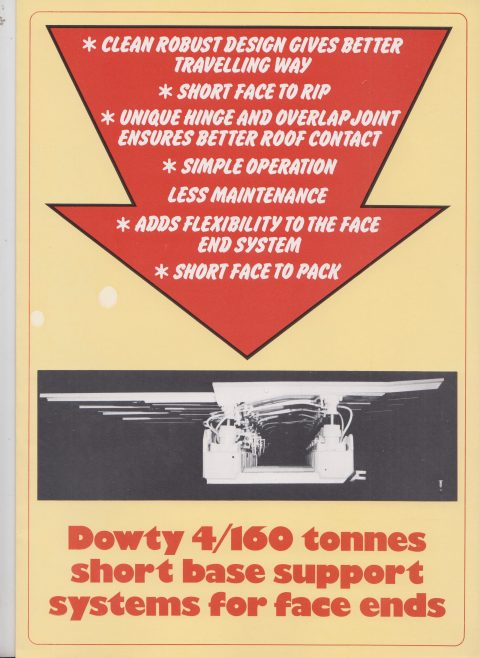 Dowty 4/160 Tonnes Short Base Support Systems for Face ends | Original photo in the Dowty archive at the Gloucestershire Heritage Hub