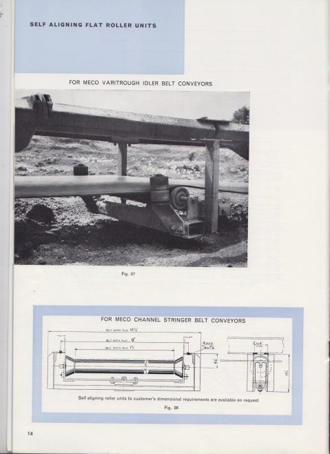 Dowty Meco - Troughed Idlers and Rollers | Original photo in the Dowty archive at the Gloucestershire Heritage Hub