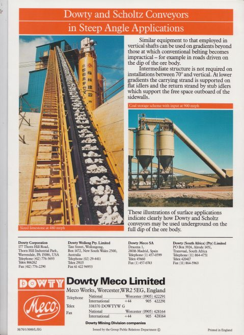 Dowty Meco - Steep and Vertical Conveyors for Minerals Transport | Original photo in the Dowty archive at the Gloucestershire Heritage Hub