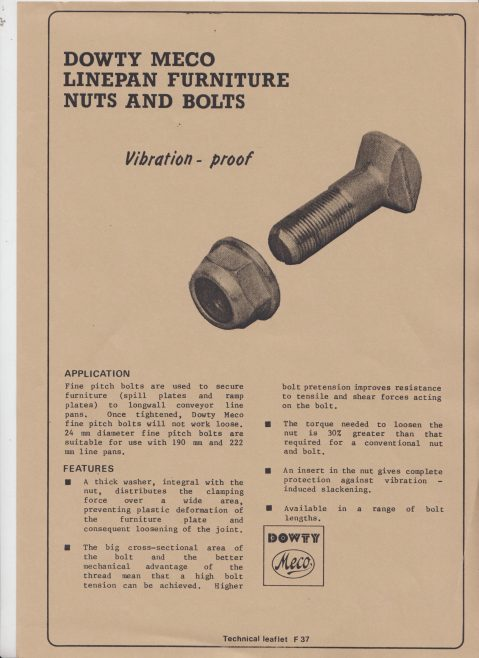 Dowty Meco - Linepan Furniture Nuts and Bolts | Original photo in the Dowty archive at the Gloucestershire Heritage Hub