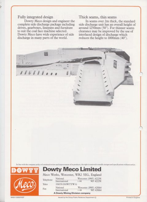 Dowty Meco - Side Discharge Longwall Face Conveyors | Original photo in the Dowty archive at the Gloucestershire Heritage Hub
