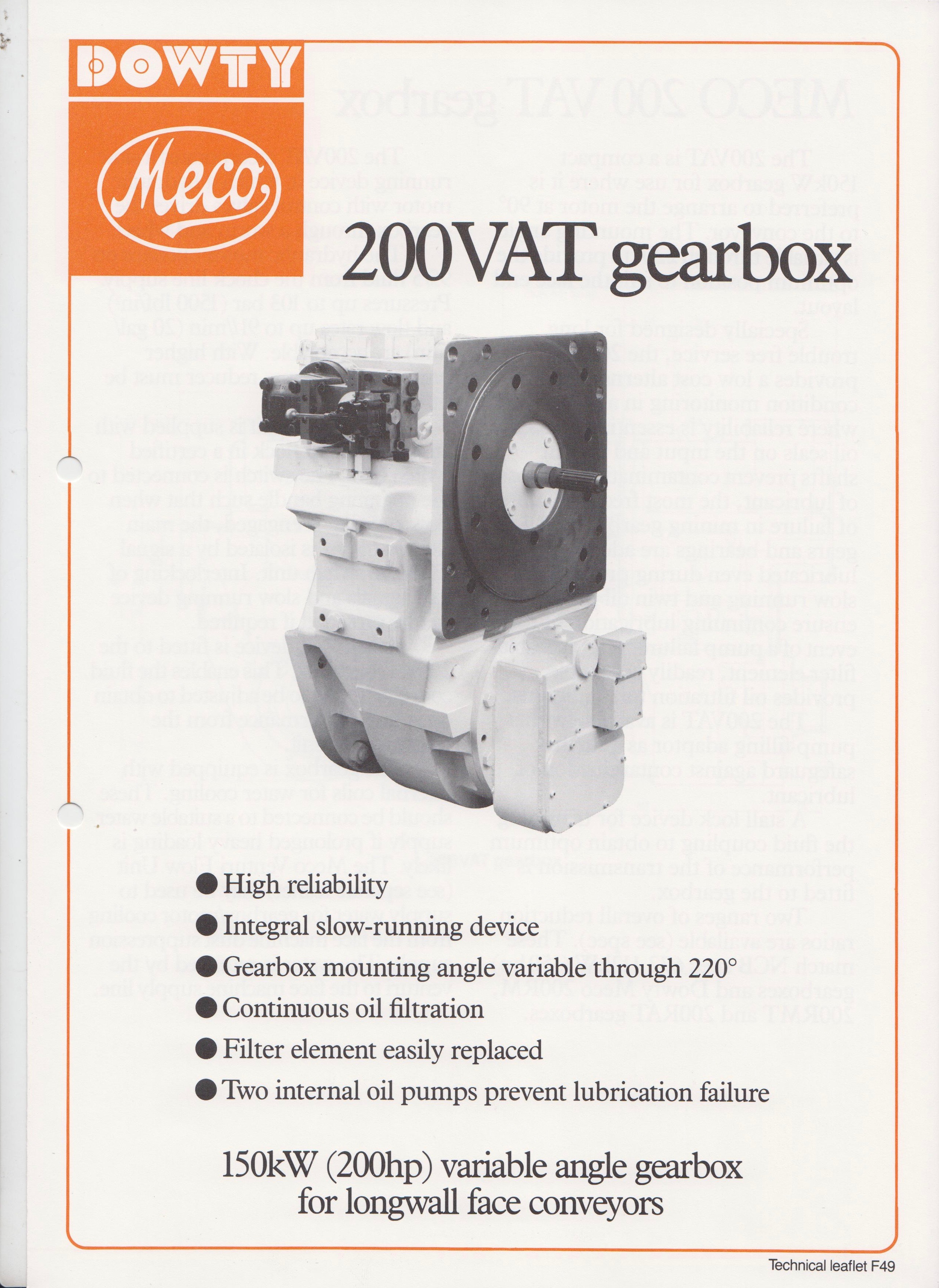 200VAT Variable Angle Gearbox for Longwall Face Conveyors