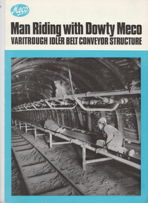 Man Riding with Dowty Meco - Varitrough Idler Belt Conveyor Structure | Original photo in the Dowty archive at the Gloucestershire Heritage Hub