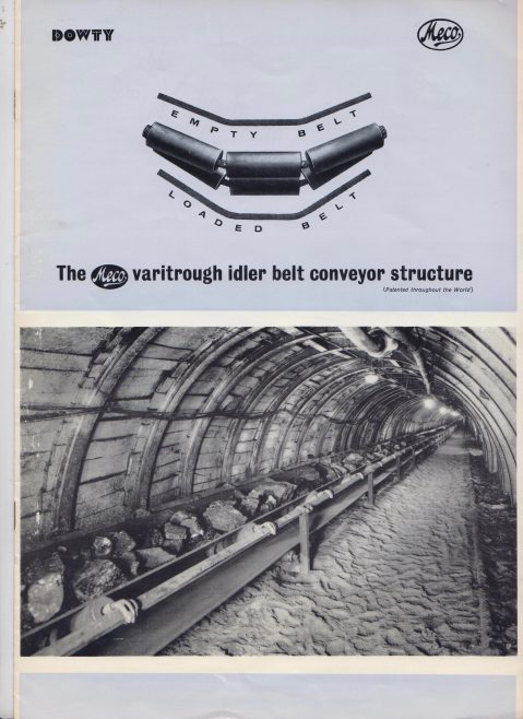 Dowty Meco - Varitrough Idler Belt Conveyor Structure | Original photo in the Dowty archive at the Gloucestershire Heritage Hub