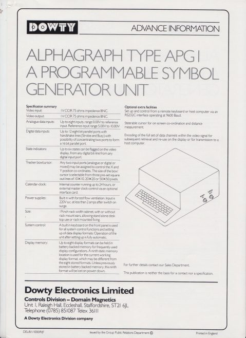 Dowty Electronics - Alphagraph Type APG1 a Programmable Symbol Generator Unit | Original photo in the Dowty archive at the Gloucestershire Heritage Hub