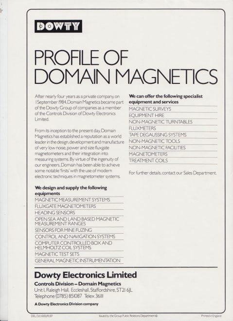Dowty Electronics - Profile of Domain Magnetics | Original photo in the Dowty archive at the Gloucestershire Heritage Hub